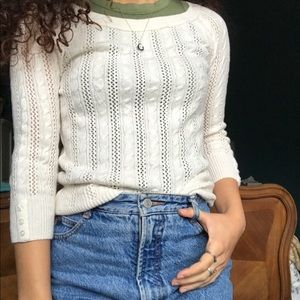 cream cable knit 3/4 sleeve sweater